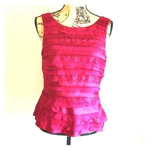 WHBM Red Ruffled Sleeveless Zip Dress Top 8 GUC
